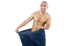 Homem no conceito de dieta Imagens de Stock