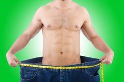 Homem no conceito de dieta Foto de Stock
