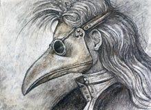 Homem no desenho de carvão vegetal da máscara do praga Fotos de Stock