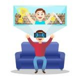 Homem no dispositivo para a realidade virtual Vetor Imagens de Stock Royalty Free
