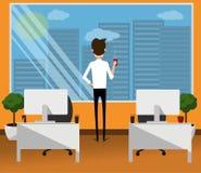 Homem no escritório com café Vetor Ilustração lisa do projeto ilustração stock