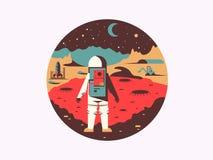 Homem no espaço em planeta desconhecido Imagem de Stock