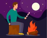 Homem no fogo do acampamento no fundo da noite, estilo liso ilustração stock