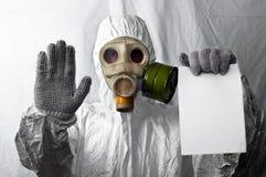 Homem no gasmask Imagens de Stock