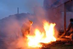 Homem no incêndio Imagem de Stock Royalty Free