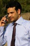Homem no móbil Fotos de Stock Royalty Free
