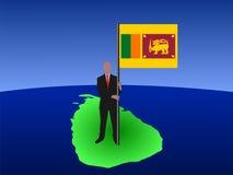 Homem no mapa de Sri Lanka Fotos de Stock