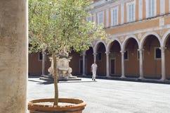 Homem no pátio velho com cofres-forte e uma estátua, em Pisa, Itália imagens de stock