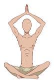 Homem no pose da ioga Fotos de Stock Royalty Free