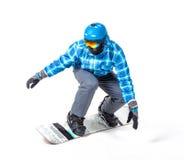 Homem no sportswear com snowboard fotos de stock