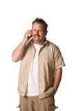 Homem no telefone de pilha Fotos de Stock