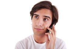 Homem no telefone, furado imagem de stock
