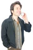 Homem no telefone sem corda Imagens de Stock