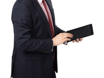 Homem no terno com um PC da tabuleta Imagem de Stock