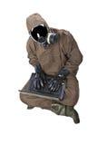 Homem no terno do perigo com portátil Fotografia de Stock Royalty Free