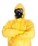 Homem no terno protetor do hazmat. Imagens de Stock