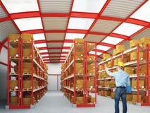 Homem no trabalho no armazém Fotos de Stock