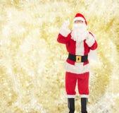 Homem no traje de Papai Noel com saco Fotos de Stock
