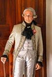 Homem no traje histórico no evento de Napoleonica na casa de campo Sorra, I Imagens de Stock