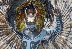 Homem no traje indiano do Maya em Tulum, México Imagens de Stock Royalty Free