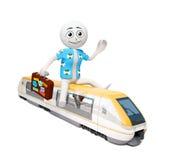 Homem no trem Fotos de Stock Royalty Free