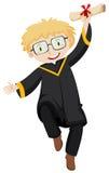 Homem no vestido preto da graduação que guarda o grau ilustração do vetor