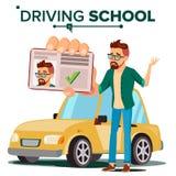 Homem no vetor da escola de condução Carro de treinamento Exame bem sucedido da passagem Aprendizagem conduzir Carteira de motori ilustração stock