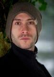 Homem novo à moda no retrato do inverno Imagens de Stock Royalty Free