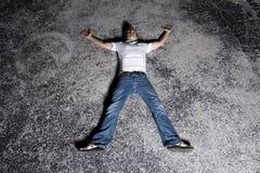 Homem novo ao ar livre na noite Fotos de Stock