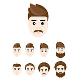 Homem novo bonito no penteado diferente Grupo de caras, vetor, eps10 Imagens de Stock Royalty Free