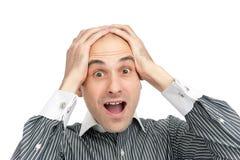 Homem novo choc e scared Imagem de Stock