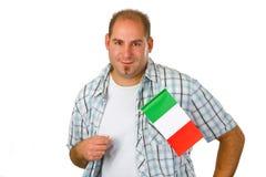 Homem novo com bandeira italiana Imagem de Stock Royalty Free