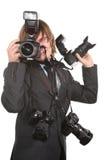 Homem novo com câmeras imagens de stock royalty free