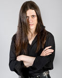 Homem novo com cabelo longo imagens de stock