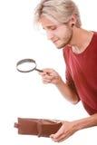 Homem novo com carteira vazia Imagens de Stock