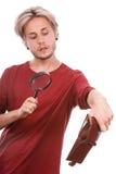 Homem novo com carteira vazia Fotografia de Stock