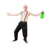 Homem novo com frasco verde imagens de stock royalty free