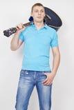 Homem novo com guitarra Fotografia de Stock