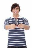 Homem novo com hourglass. imagem de stock