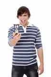 Homem novo com hourglass. foto de stock royalty free