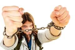 Homem novo com mãos acorrentadas Fotos de Stock