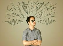 Homem novo com olho colado e linhas encaracolado Imagem de Stock Royalty Free