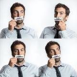 Homem novo com os bigodes do laço e da falsificação Foto de Stock