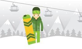 Homem novo com seu snowboard em montanhas Foto de Stock Royalty Free