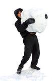 Homem novo com snowball Imagens de Stock Royalty Free