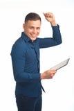 Homem novo com tabuleta Fotos de Stock