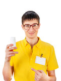 Homem novo com tubo de ensaio branco foto de stock royalty free
