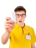 Homem novo com tubo de ensaio branco imagens de stock royalty free