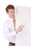 Homem novo com um quadro de avisos Imagem de Stock