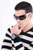 Homem novo com vidros Foto de Stock Royalty Free